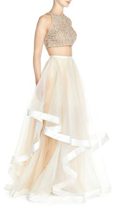 Glamour by Terani Couture Beaded Top & Organza Two-Piece Ballgown. Available @Nordstrom.