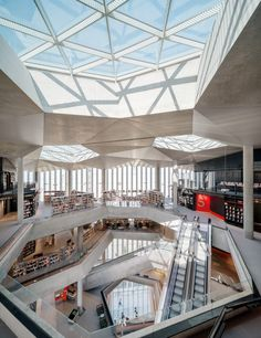 """Atelier Oslo and Lundhagem unveil Oslo's """"huge but intimate"""" central library Main Library, Central Library, Modern Library, Lund, Atrium, Oslo Opera House, Old Libraries, Public Libraries, Bookstores"""