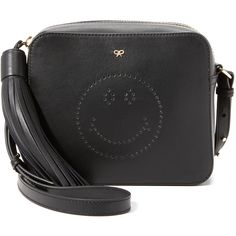 Anya Hindmarch Smiley Cross Body Bag (3,115 PEN) ❤ liked on Polyvore featuring bags, handbags, shoulder bags, black, leather crossbody purse, crossbody handbags, genuine leather shoulder bag, leather shoulder bag and perforated leather purse