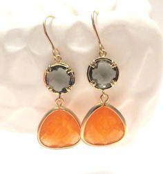 Orange Grey Earrings Gold Earrings Burnt Orange Peach Charcoal Gold Drop Earring Orange Bridesmaid Earrings Grey Wedding Jewelry Sherbert on Etsy, $29.00