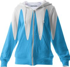 0000000P/Blue and white abstract  Zip Up Hoodie