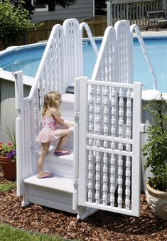 Features This high quality entry system is easy to use and meets all safety codes. Make getting into and out of your above ground pool a snap with this deluxe maintenance-free entry system. Above Ground Pool Steps, Above Ground Pool Ladders, Round Above Ground Pool, Above Ground Pool Landscaping, Backyard Pool Landscaping, Above Ground Swimming Pools, In Ground Pools, Swimming Pool Parts, Swimming Pool Steps