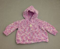 Infant Girl Knit Hooded Sweater by KatiebearKnits on Etsy, $18.00