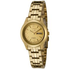 Seiko Women's SYME02 Seiko 5 Automatic Gold Dial Gold-Tone Stainless Steel Watch - Gold-toned stainless steel construction from bracelet to case to dial gives the Seiko Women's Stainless Steel Watch a gorgeous, luxe look. This timepiece combines the convenience of battery-free 21-jewel Japanese automatic movement--to power the watch, just move your arm--with a versatile, unders...