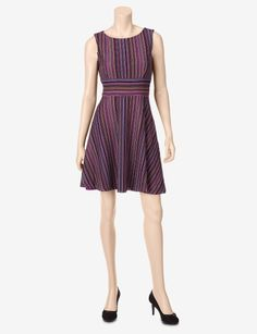 Danny & Nicole Striped Crochet Dress – Petites - Petites   Stage Stores