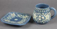 THOUNE MAJOLIKA Tasse Becher und Untertasse 19tes C Jahrhundert Private Sammlung