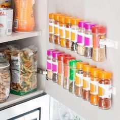 These Kitchen Storage-Saver Hooks are an organizing, space-saving system, designed to hold spice bottles or any similar-sized containers, on the door and out of your way. Spice Organization, Kitchen Cabinet Organization, Kitchen Storage, Cabinet Organizers, Kitchen Tiles, Kitchen Design, Kitchen Decor, Kitchen Cabinets, Diy Kitchen