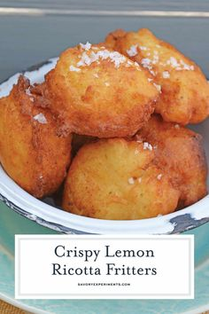 Lemon Ricotta Fritters are a savory fritter recipe. Smooth and rich, they are filled with cheese and a subtle lemon and sage. Serve with garlic aioli! Donut Recipes, Lemon Recipes, Cooking Recipes, Curry Recipes, Pie Recipes, Chicken Recipes, Delicious Desserts, Dessert Recipes, Yummy Food