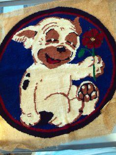"""Stoned Puppy"" needlepoint"