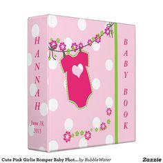 Cute Pink Girlie Romper Baby Photo Album Binders