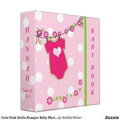 Cute Pink Girlie Romper Baby Photo Album Binders