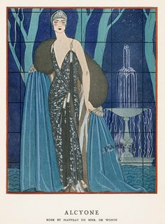 La Gazette du Bon Ton - Worth - Robe et Manteau de Soir 'Alcyone' - 1923