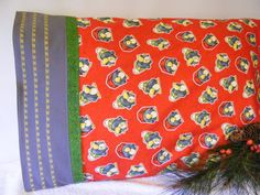 Penguin  Pillowcase Red Yellow Grey by LJsCustomCreations on Etsy, $11.00