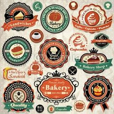 Vecteur : Collection of vintage food labels, badges and icons