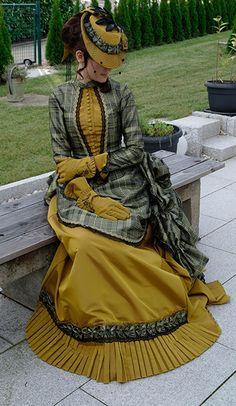 c 1880 bustle dress by Invitation to Tea Moda Steampunk, Victorian Steampunk, Steampunk Fashion, Victorian Era, Steampunk Dress, Gothic, 1880s Fashion, Edwardian Fashion, Vintage Fashion