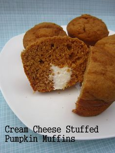 Cream cheese stuffed pumpkin muffins. Perfect Fall breakfast for those busy school mornings.