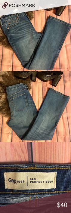 Banana Republic Stretch Medium Blue Jeans Boot Leg Size 8 Long 32 Inseam Superior In Quality