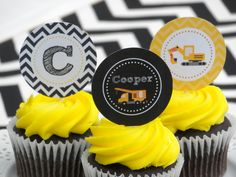 Fun cupcakes at a Construction boy birthday party!  See more party ideas at CatchMyParty.com!