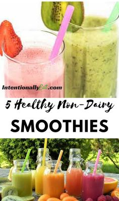 5 Healthy Non-Dairy Smoothies - Intentionally Eat Apple Smoothies, Yummy Smoothies, Breakfast Smoothies, Smoothie Recipes, Juicer Recipes, Non Dairy Smoothie, Smoothie Prep, Clean Eating Recipes, Clean Eating Snacks