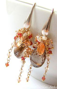Copper rutilated quartz Earrings Oregon sunstone by IlmareAtelier, $198.00