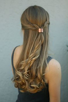 Metal hair cuff - size small copper ponytail holder rustic hair accessories silver pony tail tie boho chic shiny brass hair slide for her ** SHIPPING NOTICE: Processing time for all orders will take 7-14 days **  This minimalist metal hair tie will make a statement! Each cuff is hand-forged in copper, german silver or brass sheet and soldered to a hand-made clasp. It is attached to a black elastic band that can be easily changed to a new one by gently opening the clasp with a small pair of…