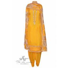 Traditional daffodil yellow unstitched salwar kameez featuring in punjabi phulkari and mirror work-Mohan's the chic window