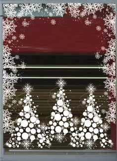 KIT13 - Kit décoration vitrine noël thème sapins boules - DECO