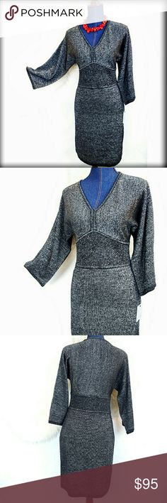 "NWT Andrew Marc MNY L 3/4 Empire Sweater Dress JUST LISTED!! An absolutely stunning sweaterdress for fall. This new with tags sweater dress by Andrew Marc Marc New York features a bit of lurex sparkle and a bodycon silhouette. 3/4 length sleeves with a slight dolman/kimono effect. Listing is for sweater dress alone. 52% Wool/22% Acrylic/Lurex. May run small. Check Measurements. Happy to provide more. Some stretch to fabric. Approximate flat measurements. Waist 15"" unstretched, 37"" length…"