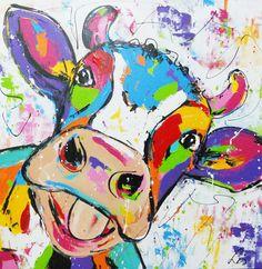 Hello cow - www.vrolijkschilderij.nl