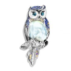 """Brooch """"Owl"""", in gold with pearl, sapphire and tourmaline by Mousson Atelier"""
