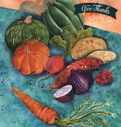 November Cover illustration, watercolor, thanksgiving, produce