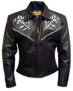 Womens Black Leather Motorcycle Jacket with Rose Insets and Braided Accents – Leatherbull (Free U.S. Shipping) (M)  http://bikeraa.com/womens-black-leather-motorcycle-jacket-with-rose-insets-and-braided-accents-leatherbull-free-u-s-shipping-m/