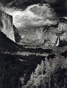 Thunderstorm, Yosemite Valley, by Ansel Adams 1945 The depth of the photo gives the feeling of grandeur, making the viewer seem like a small spec in comparison. I love Ansel Adams, such vision. Edward Weston, Ansel Adams Photography, History Of Photography, Nature Photography, Urban Photography, Color Photography, Black And White Landscape, Black N White Images, Black White