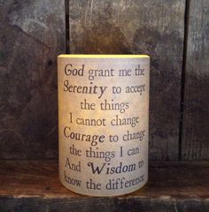3x4 battery Timer candle Serenity prayer by fireflycreekcandles, $15.00