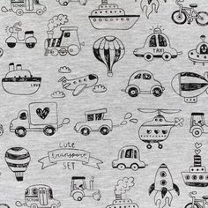 Tissu jersey Poppy Transporters - gris x 20cm