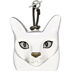 Loewe Cat-face charm ($665) ❤ liked on Polyvore featuring jewelry, pendants, charm jewelry, cat jewelry, charm pendant, leather charm and cat charm