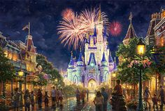 Disney Art & Collectibles - Thomas Kinkade Studios portfolio of Disney artwork captures the beauty of Disney fans' favorite movies and theme parks. Each Thomas Kinkade Studios Disney movie Disney World Resorts, Disney Parks, Walt Disney World, Disneyland Parks, Disneyland Castle, Disney World Magic Kingdom, Disney Amor, Disney Love, Disney Magic