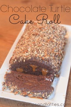 Chocolate Turtle Cake Roll #cake #turtlecake #caramel