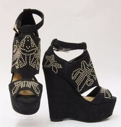 JUST FAB Black Suede Strappy Platform Cutout Wedges w Gold Studs Size 8 AY074 #JustFab #PlatformsWedges