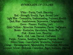 Magickal Color Chart | astral color candle color and days of the week correspondences