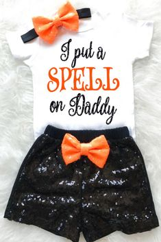 Baby Girl Halloween Outfit, Baby Girl Halloween Costume First Halloween Outfit Girls Halloween Shirt Spell on Daddy My Halloween Toddler Halloween Outfit Shorts Source by KennedyClaireCouture girl outfits Halloween Tags, Baby Girl Halloween Costumes, Toddler Halloween Outfits, Primer Halloween, Halloween Bebes, Baby Costumes, Halloween Costume 1 Year Old, Mulan Halloween, Carnival