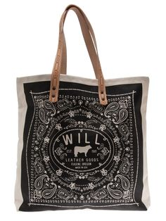 Will Leather Goods - Bandana carry all canvas tote bag 1 Biker Leather, Leather Bag, Diy Bags Purses, Designer Totes, Tote Handbags, Tote Purse, Black Handbags, Canvas Tote Bags, Canvas Purse