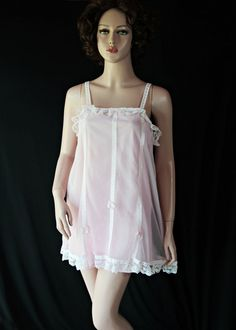 60s Lingerie / Babydoll Pajamas / Pin Up / Pink by PetticoatsPlus