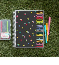 party pops - teacher\'s lesson planner on erincondren.com https://www.erincondren.com/teachers-lesson-planner-party-pops?color-id=27889 Color: Charcoal This design for the 2016-2017 school year starting the month of September.  Mrs. Sharkey on the cover.