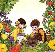 rie cramer | Pomar, ilustração de Marie Cramer.