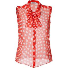 STEFFEN SCHRAUT Funky Orange/White Silk Retro Summer Dot Top ($215) ❤ liked on Polyvore