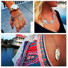 Charleston clients love showing off their Sterling etc. pieces! We spy the Tory Inspired Bracelet, Zenon Necklace in Blue, and Golden Crystal Feather Necklace! All available on the site!