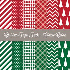 Christmas Digital paper pack  Classic Colors by DoubleTabbyDesigns, $3.00