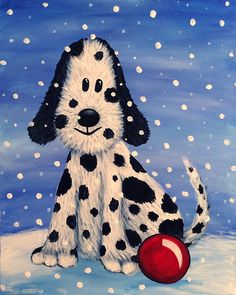 Snow Pup Oil Pastel Paintings, Easy Paintings, Animal Paintings, Painting For Kids, Art For Kids, 5th Grade Art, Acrylic Painting Techniques, Paint And Sip, Vintage Dog