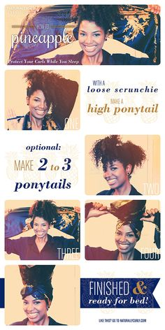Preserve your hairstyle   How to Pineapple Coily Hair at night!